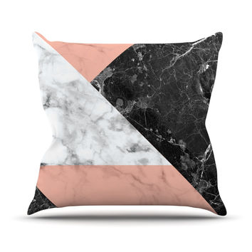 "KESS Original ""Geo Marble and Coral"" Black Art Deco Throw Pillow"