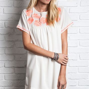Umgee Embroidered Floral Ivory Shift Dress with Neon Coral Embroidery