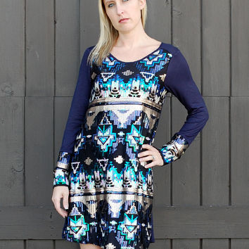 HOLIDAY NAVY TRIBAL SEQUINS DRESS