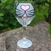 Cat Face hand-painted wine glass  Gray face, pink nose, gray base
