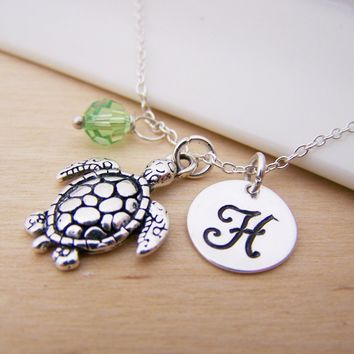 Sea Turtle Charm Swarovski Birthstone Initial Personalized Sterling Silver Necklace / Gift for Her