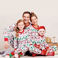 Family Christmas Pajamas Family Matching Clothes Set Digital Printing Baby Mother's Dad's Clothes Set Parent-child Clothes