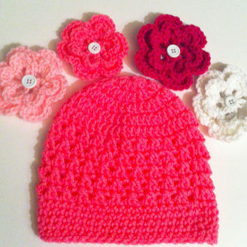 Crochet Girls Hat - Baby Pink Flower Hat  - 3 to 6 Months Old - Photo Prop - Free Shipping