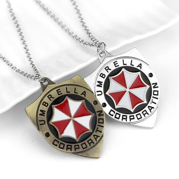New Style Umbrella Corporation Resident Evil Necklace Pendant Gift Red Zombie Chain Fan