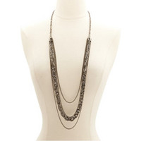LONG LAYERED & BRAIDED CHAIN NECKLACE