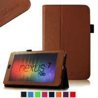 FINTIE (Brown) Slim Fit Folio Stand Leather Case Cover for Google Asus Nexus 7 Inch Android Tablet