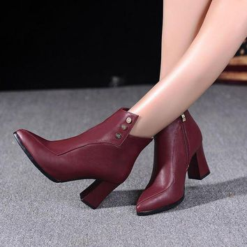 LMFON studded ankle boots high heels shoes woman  number 1