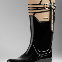 Belted Leather Detail Rain Boots