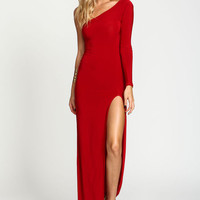 Red One Shoulder Slit Dress