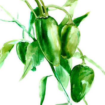 Jalapenos paiting gardena rt ktichen art, bright gree painting 12 x 9 in