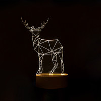 Animal Design 3D Visual Led Night Lamp for Kids Colorful Changing USB Table Light Home Art Decor