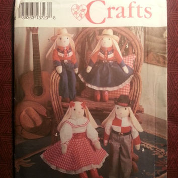 Uncut 1992 Simplicity Sewing Pattern, 8270! Decorative Stuffed Bunny & Clothes/Country Western Bunny Dolls/Swing Doll Clothes/Home Decor