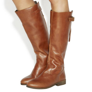 Office Kinetic Casual Strap Detail Knee Boots Tan Leather - Knee Boots