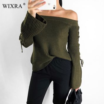 Wixra 2018 Pullovers Sweater Loose Sexy Slash Neck Solid Lace up Sweaters Casual Basic Knitted Clothing For Women Autumn Winter