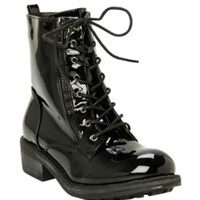 Black Patent Combat Boot