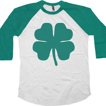 St Patrick's Day Raglan Sleeves Four Leaf Clover Shamrock American Apparel St Patty's Day Shirt Irish Clover Lucky Charm Drinking Tee -SA567