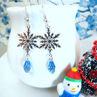Sterling silver snowflake periwinkle blue Swarovski crystal dangle earrings, Frozen snowflake Christmas earrings, Elsa Earrings