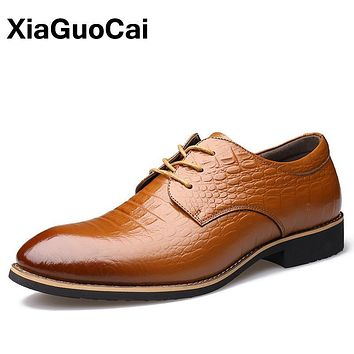 XiaGuoCai Autumn 100% Genuine Leather Oxford Shoes For Men Pointed Toe Lace Up Rubber Crocodile Wedding Male Dress Shoes