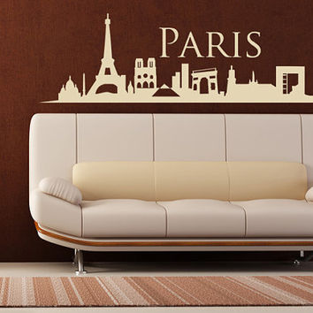 Wall Vinyl Sticker Decals Decor Art Bedroom Design Mural Paris France Skyline Town City (z1003)