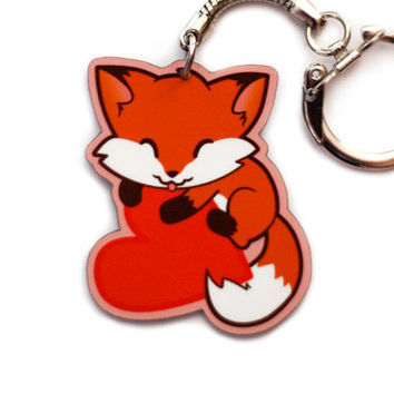 Fox Heart Keychain Charm - Foxy Love Kawaii