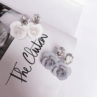 Korean Accessory Floral Crystal Earrings [10399366228]