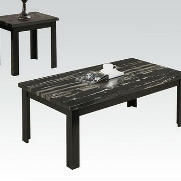 Acme 80855 3 pc blythe collection faux marble top black wood finish coffee and end table set