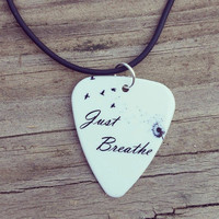 Just Breathe guitar pick on black necklace with dandelion to birds background- Gorgeous and Unique!