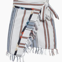 San Marcos Skirt - White/Orange/Blue Stripe Print