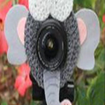 Crochet Elephant Lens Buddy Hood Cover Photographer Gift - PFLH11
