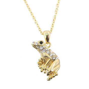 3D Frog Shaped Pendant Necklace in Gold with Rhinestones