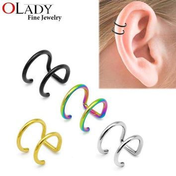 ac PEAPO2Q 16G 316L Stainless Steel 2 Rings Ear Cuff Clip Women Men Fake Piercing Dilatations False ear piercing body jewelry