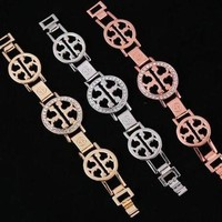 LMFYV2 8DESS Tory Burch Popular Women Double T Letter Diamond Bracelet