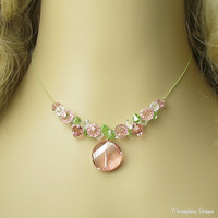 PEPPERMINT TWIST Swarovski Crystal Necklace by whimsydaisydesigns