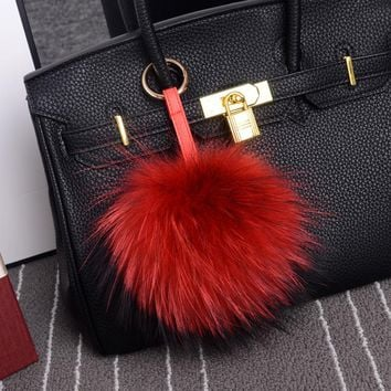 100% Real Raccoon Fur Pom Pom Keychain on Bag 15cm Fluffy Fur Ball Key Chain Luxury Fur Pompon Keyring Jewelry Bag Charms