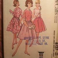 Uncut 1950's McCall's Sewing Pattern, 6727! Size 14 Bust 34 Medium/Women's/Misses/Flared Skirts/Button Up Jackets/Sleeveless Cocktail Dress