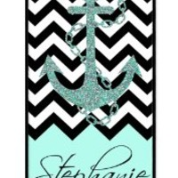 iZERCASE Personalized Black Turquoise and White Chevron Pattern with Anchor RUBBER iphone SE / iPhone 5S case - Fits iphone SE, iPhone 5S T-Mobile, AT&T, Sprint, Verizon and International