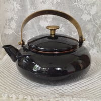 Black Tea Kettle, Brass Handle and Lid Pull, Enameled Pot Belly Squat Kettle, Vintage Kitchen, Stove Decor