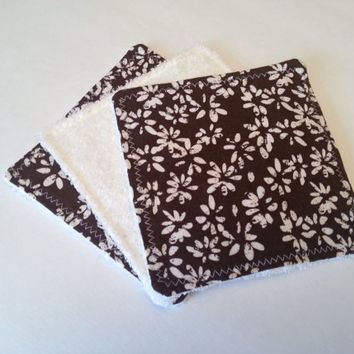 Brown and Cream Floral Dish Rags / 6 inch Dish Rags / Small Dish Rags / Small Washcloths / Brown Kitchen Decor / Earth Tone Kitchen
