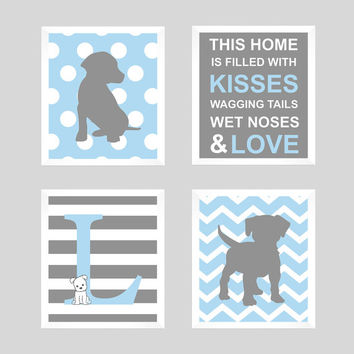 Puppy Wall Decor, Puppy Print, Monogram Print, Initial Monogram, Dog Print, Puppy Nursery, Baby Decor, Kids Wall Art, CUSTOMIZE YOUR COLORS