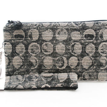 Black and gray clutch / circle wristlet / small purse / zipper pouch & key fob gift set for women in mid century modern style fabric