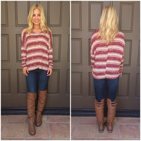 Lucky Streak Knit Top - BURGUNDY & CREAM