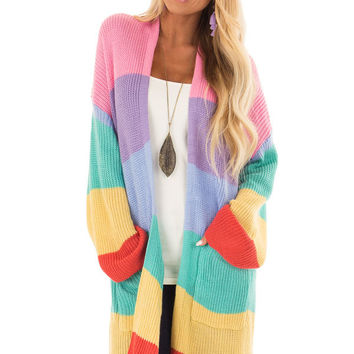 Rainbow Striped Loose Knit Open Front Cardigan