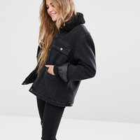 ASOS Denim Borg Jacket in Onyx Washed Black with Pockets at asos.com