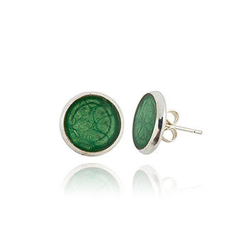 Dark Green Silver Stud Small Earrings Jade Everyda