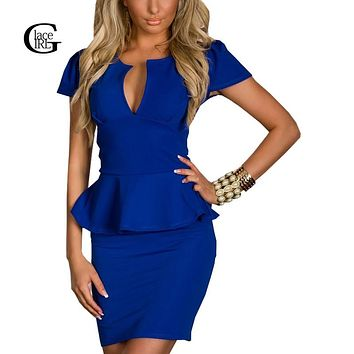 Lace Girl Women Office Dress 2017 Women Sexy V Neck Sheath Ruffles Spliced Slim Dress Tunic Work Party Business Bodycon Dress