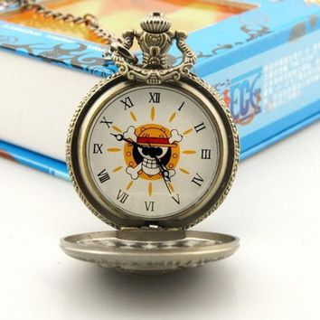 PEAPIX3 Steampunk Anime One Piece Cosplay Skull & Crossbones Pocket Watch Pendant Necklace
