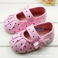 Baby Girls Polk-a-dot Pink Slipper Shoes