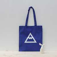 Blue tote bag hand screen printed mountain - Caribou