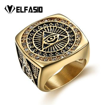 Mens Stainless Steel Gold Ring Illuminati The All-seeing-eye illunati pyramid/eye symbol Hip hop Jewelry Size 8-13