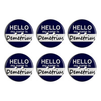 Demetrius Hello My Name Is Plastic Resin Button Set of 6